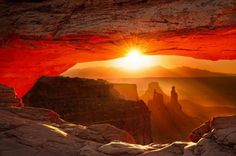 Mesa Arch-Looking Through an Arch in #ArchesNationalMonument - #Utah. Part of the #GrandCircle
