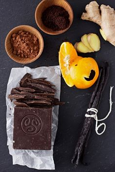 Chocolate, Cocoa Powder, Coffee Powder, Oranges, Ginger and Vanilla Pods! Can you just imagine the possibilities here....