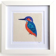 Kingfisher framed wall art picture gift machine by DottyOnline