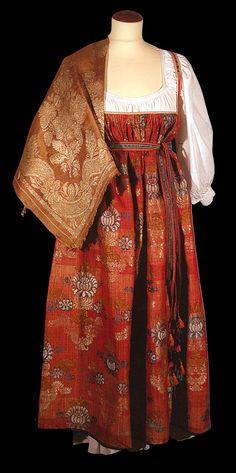 19th century Russian ethnic costume.