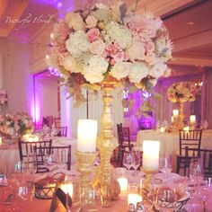 Gold stand with ivory pink flowers