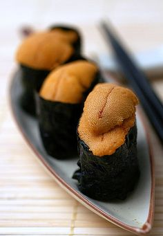 Uni (sea urchin). Add soy sauce and it's delicious.