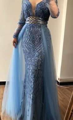 Plus size sequined Long Sleeves Beading Evening Gowns(Pink/Blue). Processing time business days after payment . Source by dresses videos African Lace Dresses, Latest African Fashion Dresses, Elegant Dresses, Beautiful Dresses, Formal Dresses, Casual Dresses, Long Sleeve Evening Dresses, Plus Size Evening Gown, Plus Size Gowns