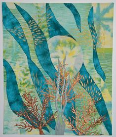 Belinda Hart The Celebration Series began with Sunlight on Water.  l had originally intended to create something entirely different, but when I saw the results of the dye process, the cloth spoke to me of water -- moreover, the way sunlight plays on water.  The result was this piece.  The fabrics are hand-dyed and pieced.  The images of seaweed and corals are screened and painted, and the entire piece is free-motion quilted