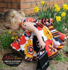 Adria dress pattern for little girls Square Dance, Circle Dress, Easy Sewing Patterns, Baby Car Seats, Children, Kids, Chloe, Little Girls, Super Cute