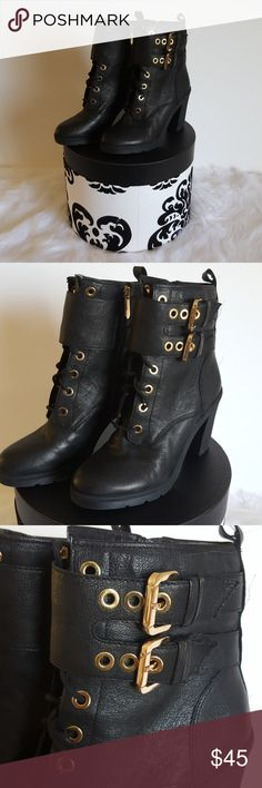 Leather Boots by Guess size 10 NWOT Black leather medium height guess boots in a size 10 with gold accents. Shoes never worn, but missing tag. Guess Shoes