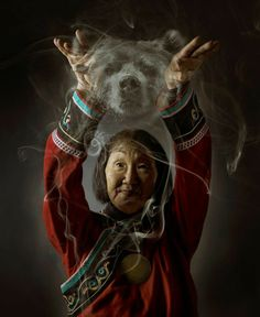 Shaman and Bear Spirit. The Bear is a symbol of power, strength and healing. The Bear is held in high respect by all, as it is beloved as an elder family member of the human race. Native Indian, Native Art, Native American Art, American Indians, American Spirit, Magick, Witchcraft, Wiccan, Spirit Bear