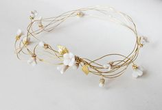 Bridal hair crown, clay flower headpiece, gold wire tiara, leafs hair wreath - wedding floral headpiece with rhinestone, ANNIE Gold Headpiece, Flower Headpiece, Gold Hair Accessories, Bridal Accessories, Gold Flowers, Flowers In Hair, Flower Hair, White Flowers, Clay Flowers