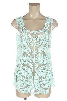 Mint Lace Sleeveless Top $28