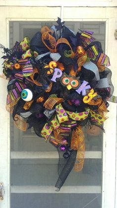 "decomesh wreaths georgia | Spooky"" deco mesh wreath. 