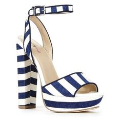 Justfab Heeled Sandals Terra ($40) ❤ liked on Polyvore featuring shoes, sandals, stripe, high heel shoes, platform shoes, high heel sandals, heeled sandals and stacked heel sandals