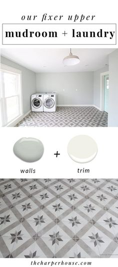 our fixer upper mudroom & laundry reveal featuring cement tile look alike flooring, sherwin williams silver strand walls, and a fun barn door! | theharperhouse.com