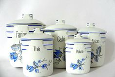 French Vintage canister set Five piece floral ceramic