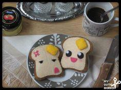 Broche de fieltro de tostadas kawaii