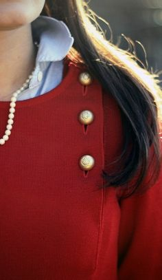 Red, blue, and pearls.