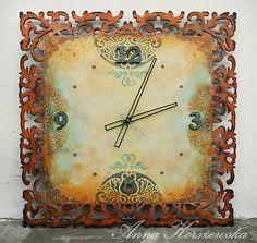 Anna Korszewska #polandhandmade, #paint, #stencil, #clock, #ornaments