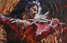 Купить Скрипач - картина, Живопись, холст, холст масло, масляные краски, масляная живопись, бордовый