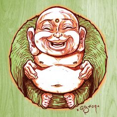 Buddha Art..   Have a few of these little men, makes me smile Always..