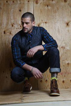 Nice style in denim and dark indigo plaid. Fashion Moda, Look Fashion, Autumn Fashion, Mens Fashion, Mode Masculine, Sharp Dressed Man, Well Dressed, Looks Style, My Style