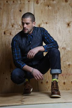 denim and dark indigo plaid