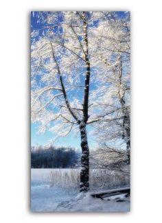 Baum im Raureif Motivdruck Papier