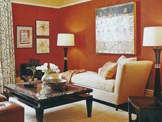 Wendy Lloyd Interior Design | Asian Inspired Living Room  #asianstyle #asianinspireddecor #asiansinpiredlivingroom #livingroomdesign #orangewallslivingroom #blackwhiteorangelivingroom #chaise #asianart #livingroomdecor #livingroomdesignideas
