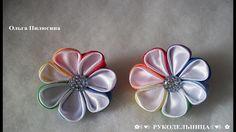 Резиночка для волос канзаши/ с круглыми лепестками