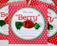 "LDS Primary Teacher ""Berry"" Thank You FREE Printable!--- except maybe ""we are BERRY sad we didn't get to see you in primary today"" or something Primary 2014, Lds Primary, Primary Teaching, Teaching Kids, Primary Activities, Primary Lessons, Primary Resources, Teacher Thank Yous, Teacher Gifts"