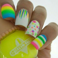 26 Beautiful Easter nail designs you should try this Easter holiday.Enjoy bunniesEaster eggs crossrabbitspolka dots all fun details on your Easter nails Neon Nail Art, Rainbow Nail Art, Neon Nails, Cute Nail Art, Diy Nails, Manicure Ideas, Nail Tips, Easter Nail Designs, Nail Art Galleries