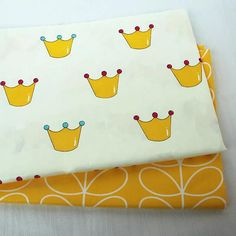 100% Cotton Fabric in two designs. per fat quarter/ per Half Metre    ** Description This cute crown design fabric would delight both your little prince or princess alike with its quirky regal design of yellow crowns. Its matching fabric is a gorgeous bright yellow with a swirl design. it truly is a must have item for craft or room decor. As it is a really versatile item it would be great for quilting, bunting, Patchwork, Accessories or even doing a bit of applique and more Sewing & ...