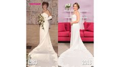 Women try on the dresses their moms' wedding dresses from the 1980s
