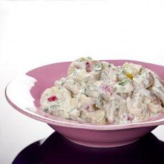 Cremede kartofler med radiser og tre slags løg opskrift