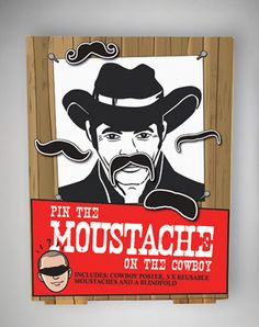Pin The Moustache on The Cowboy Party Game