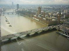 The Thames River, the Houses of Parliament and Big Ben, as seen from the London Eye
