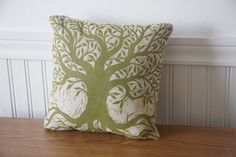 Green Tree Hand Printed Decorative Pillow by HorseAndHare on Etsy, $35.00