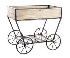 Carro de madera y metal para plantas - natural. Largo: 80,5 cm Alto: 71,5 cm Ancho: 51,5 cm