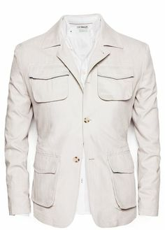Field jacket crafted in a linen cotton-blend fabric from the Blacksmith casual collection. Best Casual Shirts, Suit Fashion, Mens Fashion, Safari Jacket, Fashion Couple, Field Jacket, Vintage Jacket, Sport Coat, Shoes
