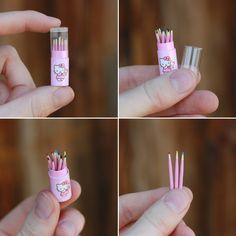 Striped Box, hello Kitty mini colored pencils.