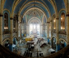 Abandoned St Boniface Church in Chicago, with its stunning if slightly ethereal looking Romanesque style!