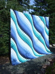 Tamarack Shack: Guild's Bargello Raffle Quilt. I was looking for ideas for making a river. This kinda looks like a river