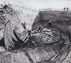 """""""The Oseberg burial mound (Norwegian: Oseberghaugen ved Slagen from the Old Norse word haugr meaning mound or barrow) contained numerous grave goods and two female human skeletons. The ship's interment into its burial mound dates from 834 AD, but parts of the ship date from around 800, and the ship itself is thought to be older. It was excavated by Norwegian archaeologist Haakon Shetelig and Swedish archaeologist Gabriel Gustafson in 1904-1905."""