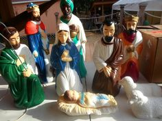 """VINTAGE EMPIRE 10PC. LIGHTED BLOW MOLD NATIVITY  SET 12"""" TO 22"""". Decorating With Christmas Lights, Christmas Decorations, Nativity Sets, Blow Molding, Reyes, Empire, Vintage, Births, Art"""