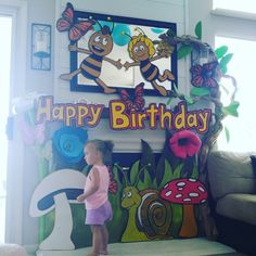 DIY Maya the Bee birthday decorations made out of cardboard posterboard and paint-Characters Maya, Willie and Shelby