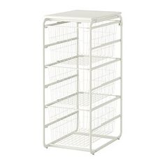 IKEA - ALGOT, Frame with 3 wire baskets/top shelf, The parts in the ALGOT series can be combined in many different ways and easily adapted to your needs and space.Also stands steady on an uneven floor since the feet can be adjusted.The basket glides smoothly and has a pull-out stop to keep it in place.With ALGOT top shelf, you can create a practical extra work surface on all frames in the same series.You can make the most of your floor space by stacking two frames on top of each other.Can…