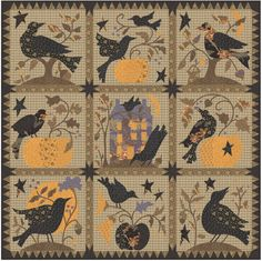 Yellow/orange with tans and greys/blacks - primitive applique.  The Raven Block of the Month
