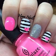 Super Nails Black White Pink Valentines Day Ideas You are in the right place about nail cute Fancy Nails, Love Nails, Diy Nails, Fabulous Nails, Gorgeous Nails, Pretty Nails, Super Cute Nails, Nails Polish, Striped Nails