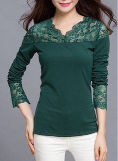 Graceful V-Neck Long Sleeve Lace Splicing Slimming Solid Color T-Shirt For Women - mens burgundy shirt, mens casual black button down shirt, shop for shirts *sponsored https://www.pinterest.com/shirts_shirt/ https://www.pinterest.com/explore/shirt/ https://www.pinterest.com/shirts_shirt/design-shirts/ http://www1.macys.com/shop/mens-clothing/mens-shirts?id=20626