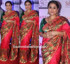 Vidya Balan was seen wearing a gorgeous Paithani silk drape by Gaurang Shah at the recently held Marathi filmfare award. She teamed it with temple jewellery