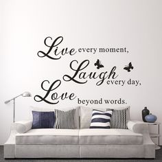 """Live Love Laugh - Love Wall Decals Art Mural Quote Lettering Living Room Stickers wall words 36"""" x52"""" L"""