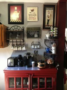 Red hutch coffee station